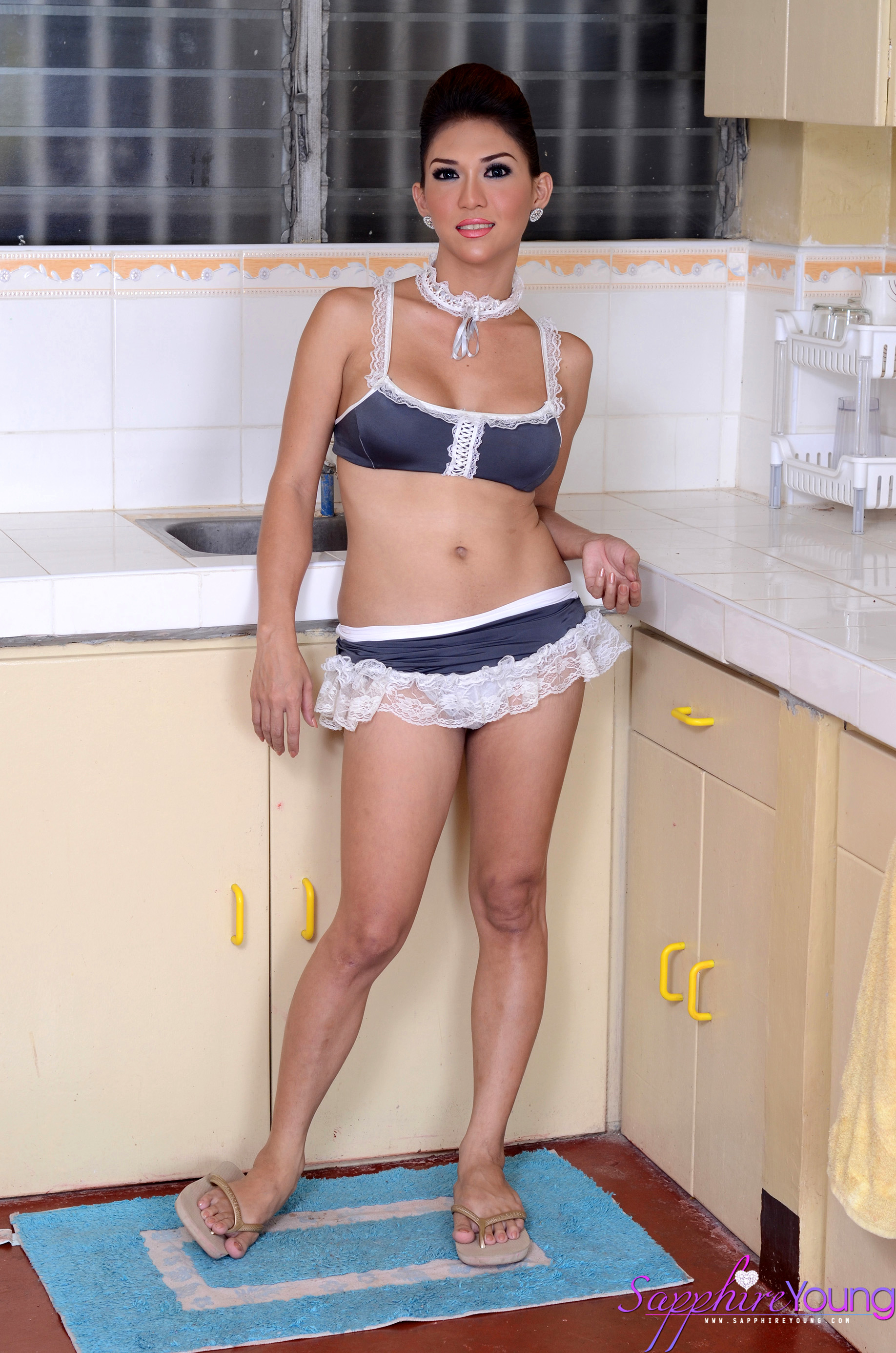 Very Feminine Thai Ladyboy With Massive Boobs Masturbates In The