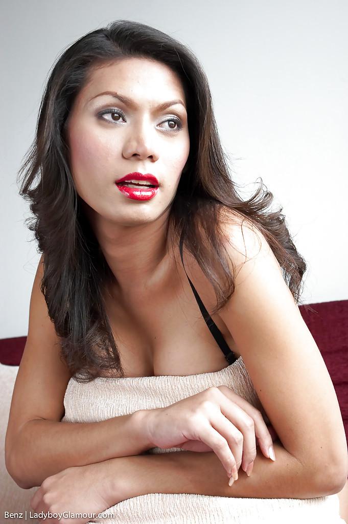 Sweet Asian T-Girl Benz Masturbating Off Femboy Penis In Fishnet Stockings