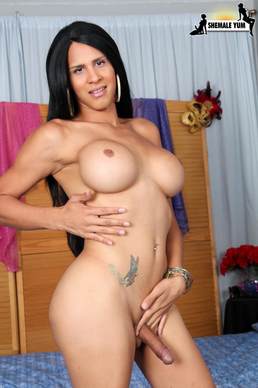 Busty Shania Reyes Jerks Her Huge Dick!