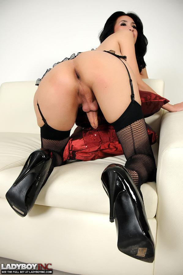 Spicy T-Girl Fingers And Toys Her Butt