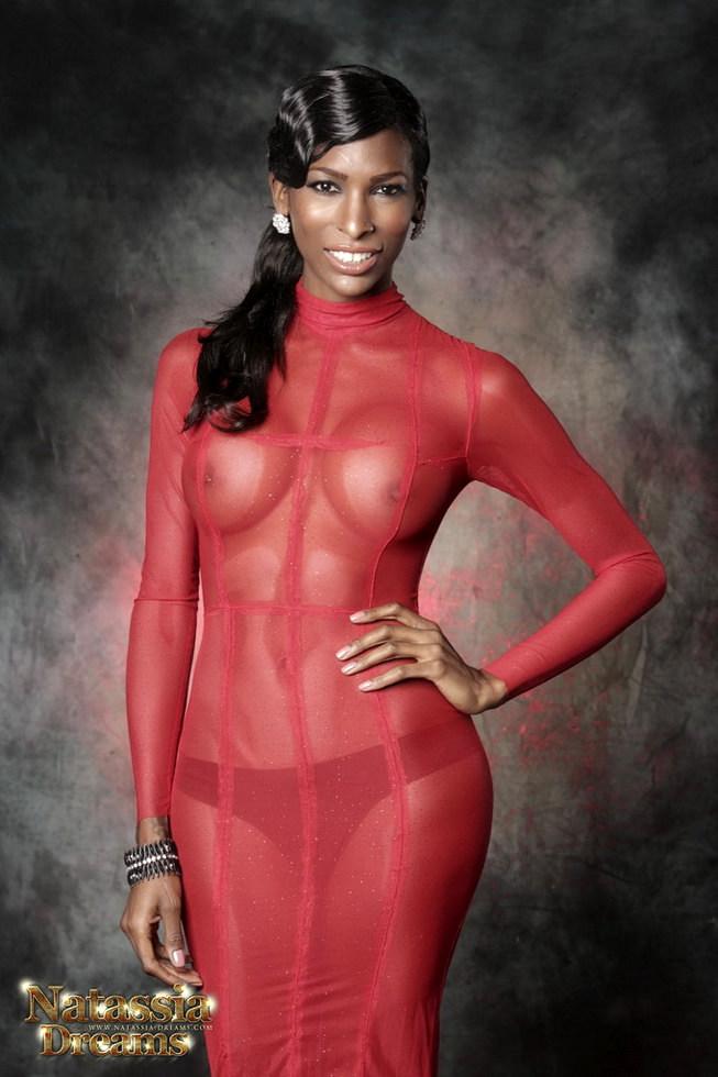 Black Ladyboy Natassia Fantasies - Red Dress
