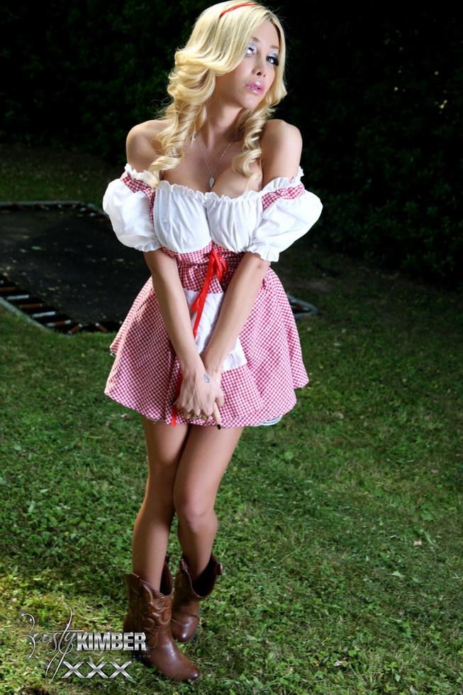 Post Op T-Girl Kimber - Red Hood Dress