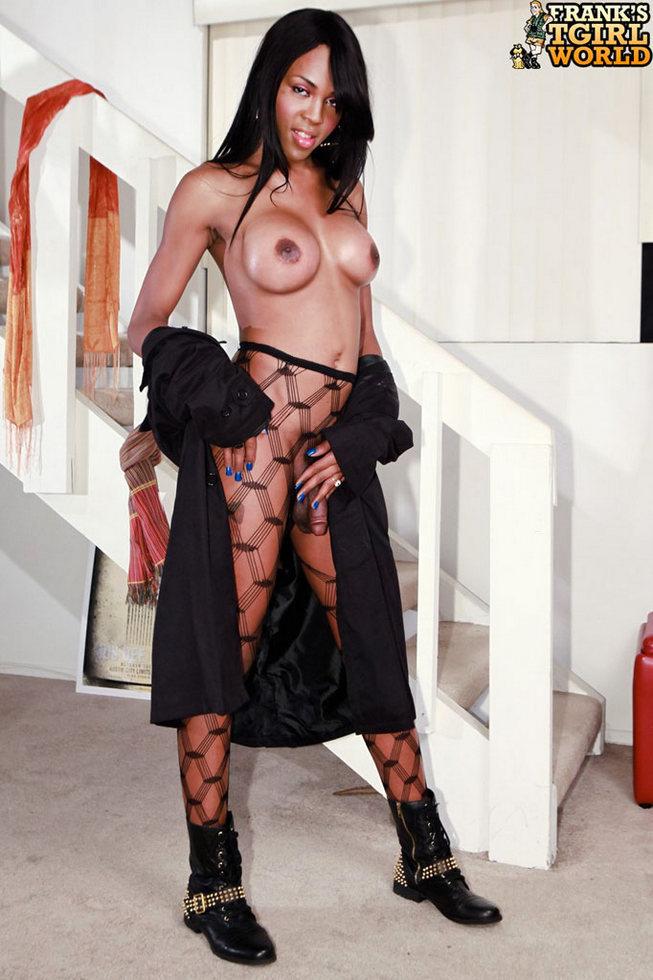 Black T-Girl Heather Hung - Heather Hung Fishnet Pantyhose