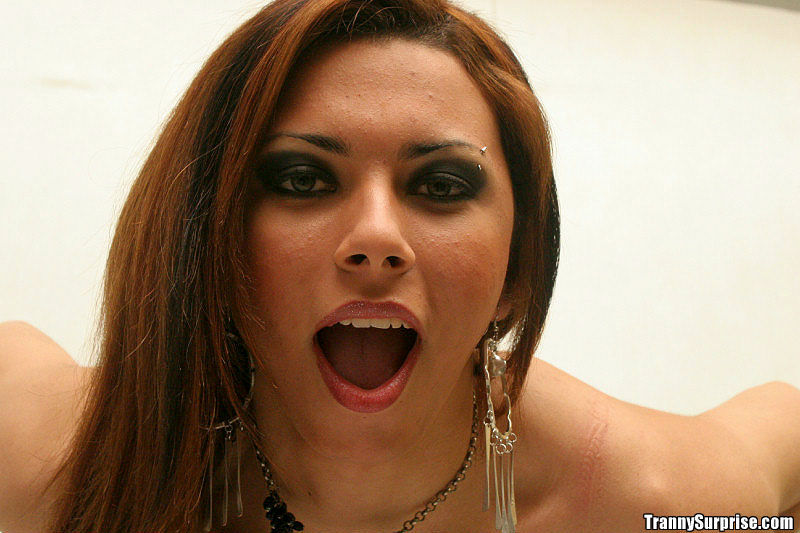 Hungry Redhead Latina T-Girl Angela Exhibiting Her Massive Tool