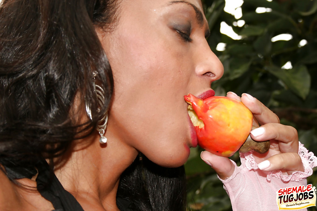 Latina Ladyboy Pamela Araujo Flaunting Huge Juggs Outdoors While Jerking