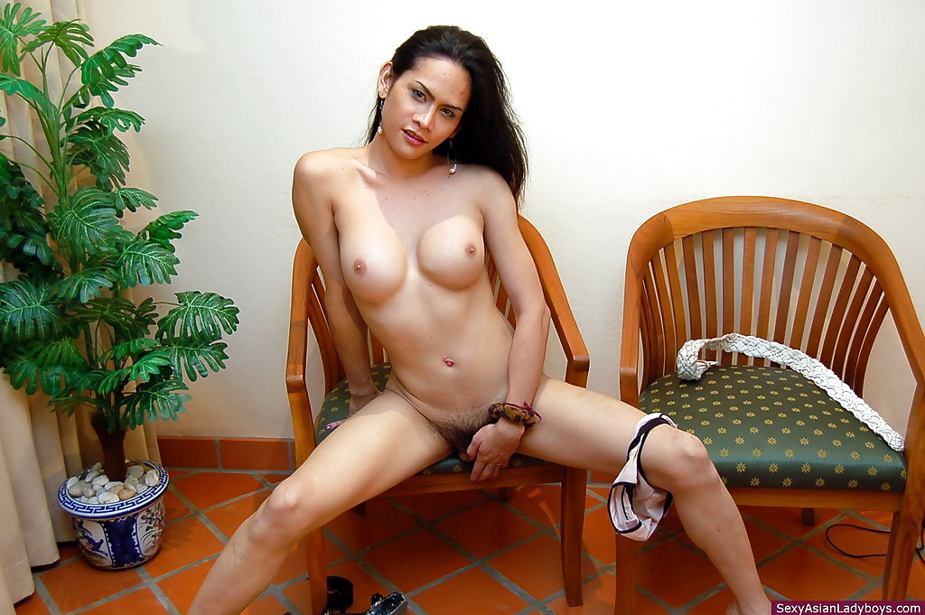 Gorgeous Thai Tgirl Spreading Her Legs And Exposing Her Hairy Penis