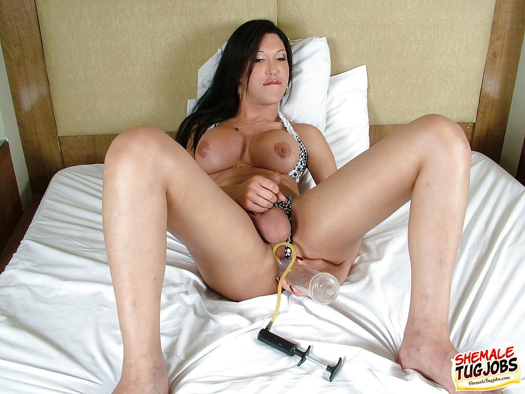 Solo Latina TGirl Sabrina Rios Uses Sex Dildo On Huge Tool While Jerking