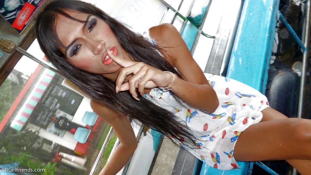 Slim Brunette Thai Transexual Happy Jerking In Public