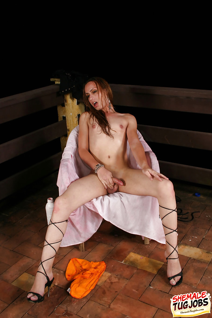 Latina TGirl Carla Del Bianco Oils Up Huge Penis For Solo Masturbation