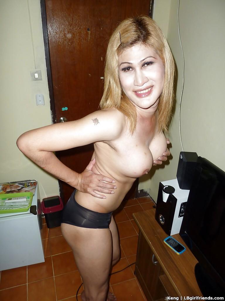 Busty Blonde Thai Ladyboy Flashing Hairy Uncut Penis And Tattoos