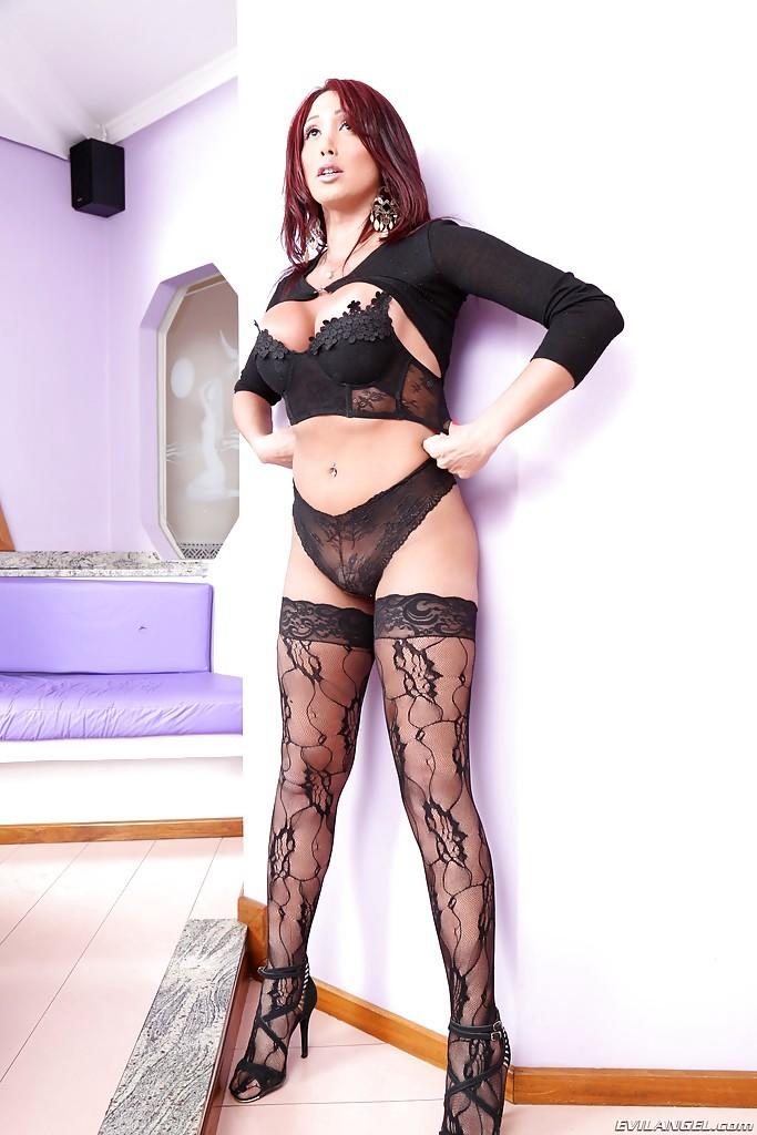 Sweet Latina Ladyboy Amanda C Spreading Ass-Hole In Stockings And High Heels
