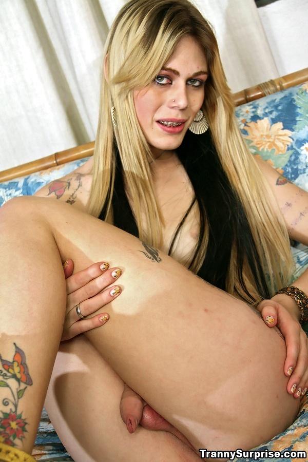 Racy Blonde Latina T-Girl Carla Cardille Taking Sticky Anal Creampie