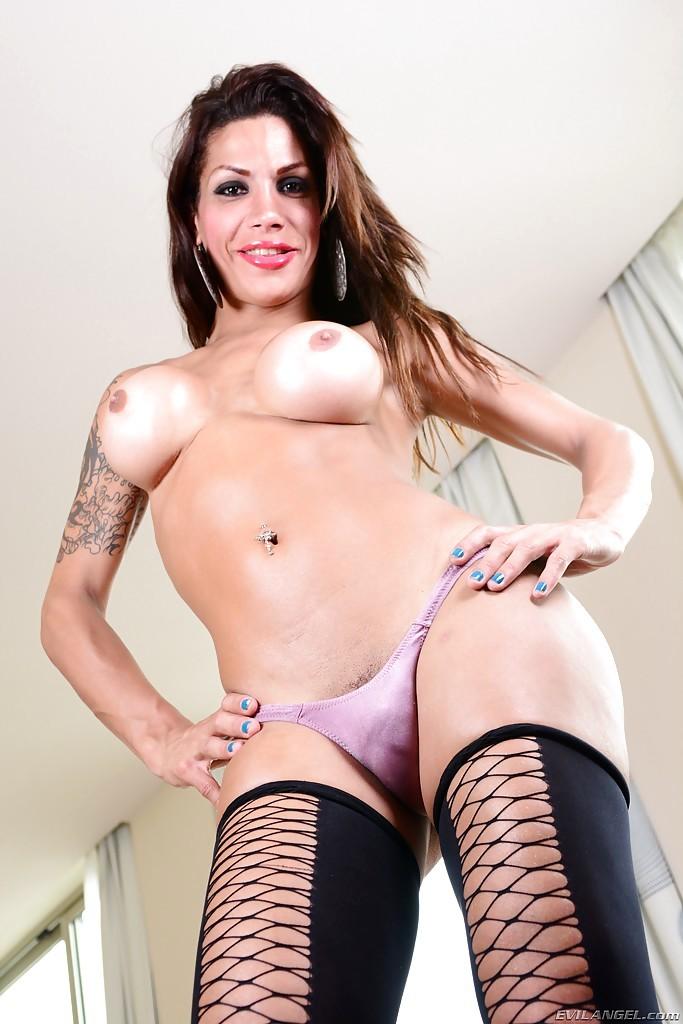 Brunette Latina Tgirl Aline Diniz Getting Bj In Stockings From Alex Victor