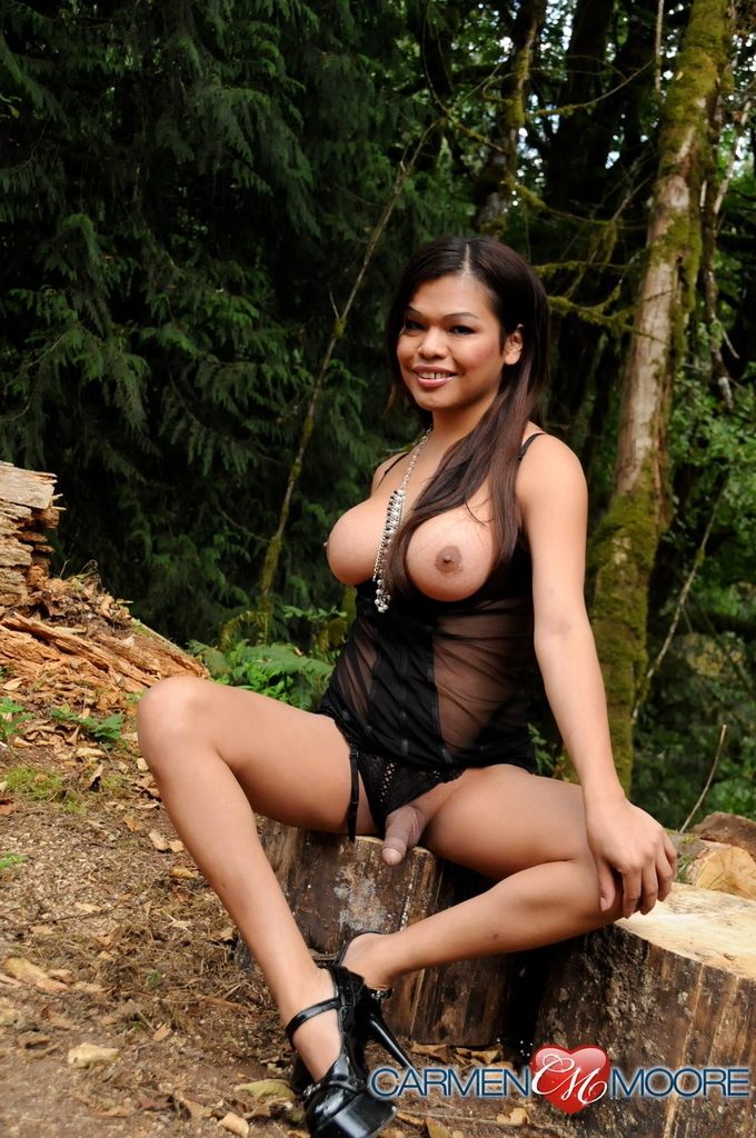 Gorgeous Trannies Carmen And Mia Posing In The Woods