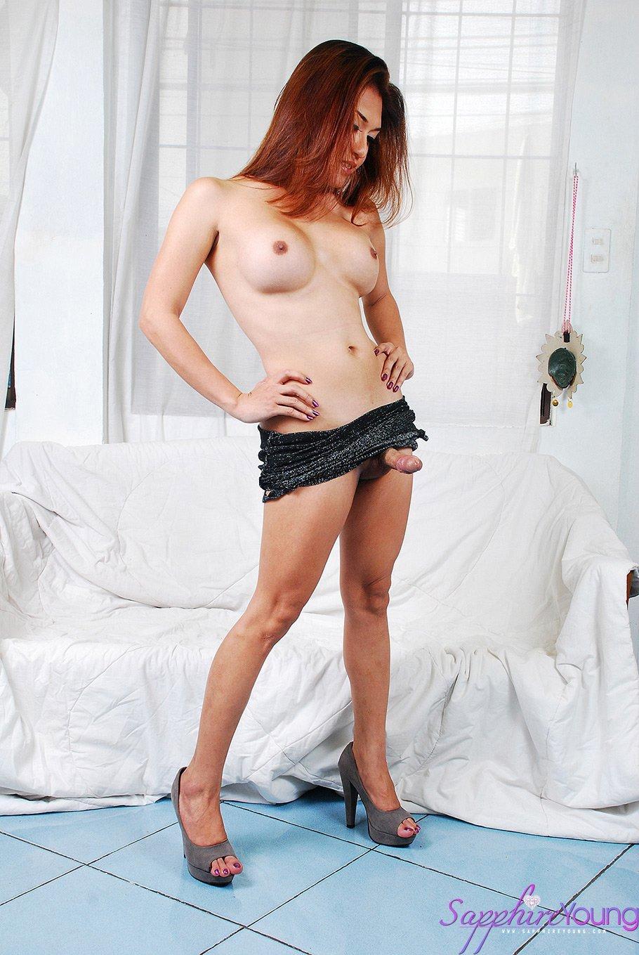 Seductive Oriental Tgirl Is All Glitter And Dick