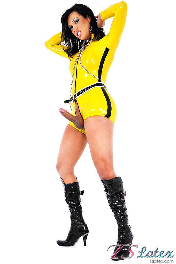 Skimpy Yellow Latex Clad T-Girl Babe