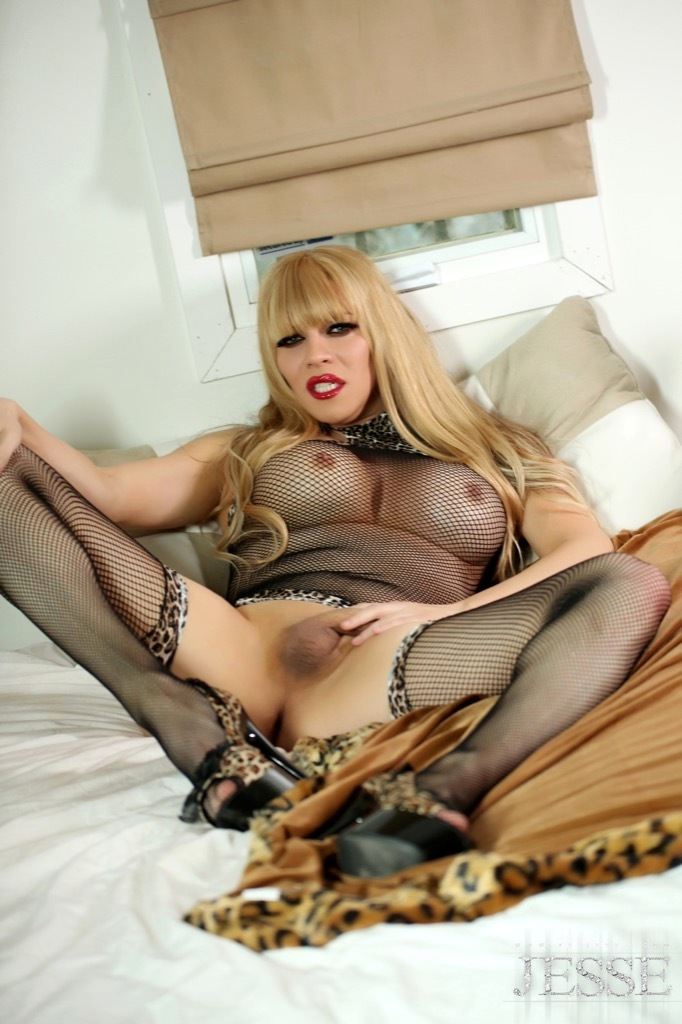 Jesse Is Having Fun With Her Provocative Fishnets And Playing With Her Massive Penis