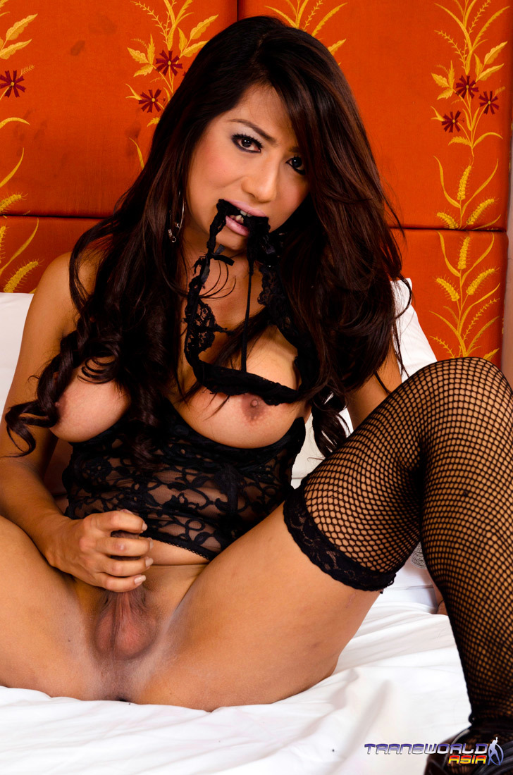 Sexy Busty Femboy Sheree Posing In Black Lace Panties And Making Her Shecock Very Rough