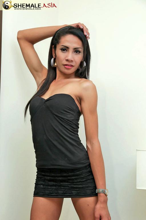 Sweet Asian T-Girl Wanks Her Hairy Tool